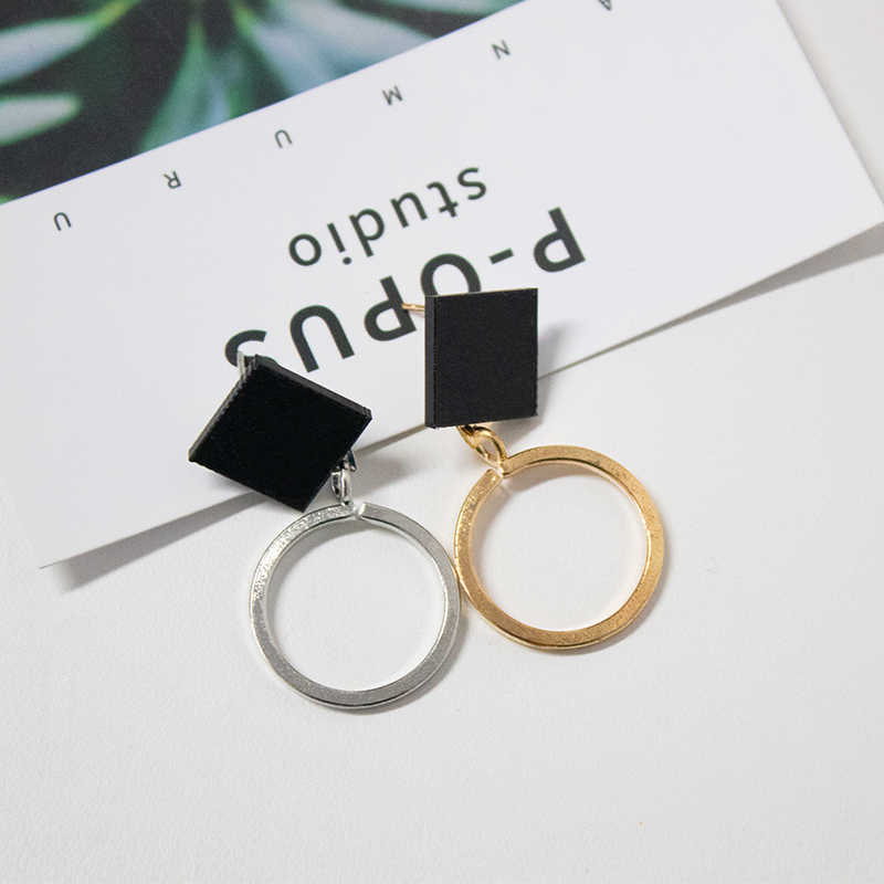 YANZIXG Geometric Asymmetric Drop Earrings for Women Triangle Square Black Earrings female 2018 Fashion Jewelry hanging