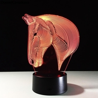 Creative 3D Led Lamp Acrylic 7 Color Changing 3D LED Nightlight Decoration Night Light Horse Head