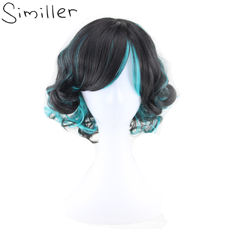 Similler Cosplay Short Wigs Purple Black Green Curly Synthetic Hair For Women Party Bob