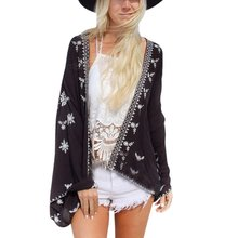 New New Women's Beach Holiday Embroidery Snow Flower Crotoch Lace Hem Cardigan Kimono  Blouse Tops flower print fringe hem kimono
