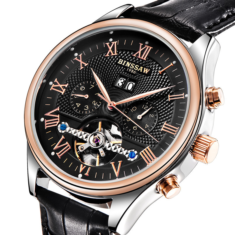 BINSSAW 2019 New Men Leather Automatic Mechanical Watch Tourbillon Fashion Luxury busines Brand Sports Watches relogio masculinoBINSSAW 2019 New Men Leather Automatic Mechanical Watch Tourbillon Fashion Luxury busines Brand Sports Watches relogio masculino
