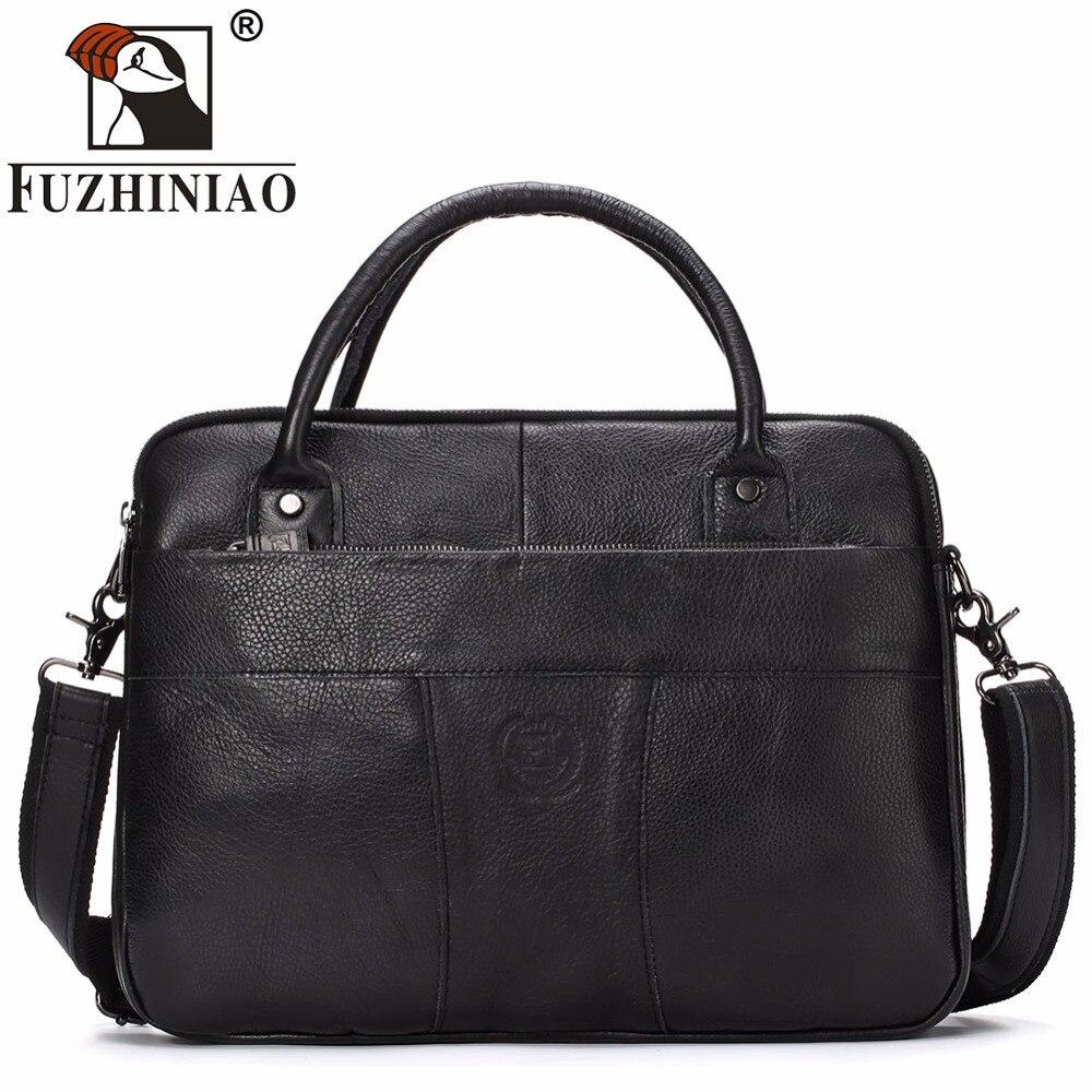 FUZHINIAO Genuine Leather Mens Bags Business Handbags Men