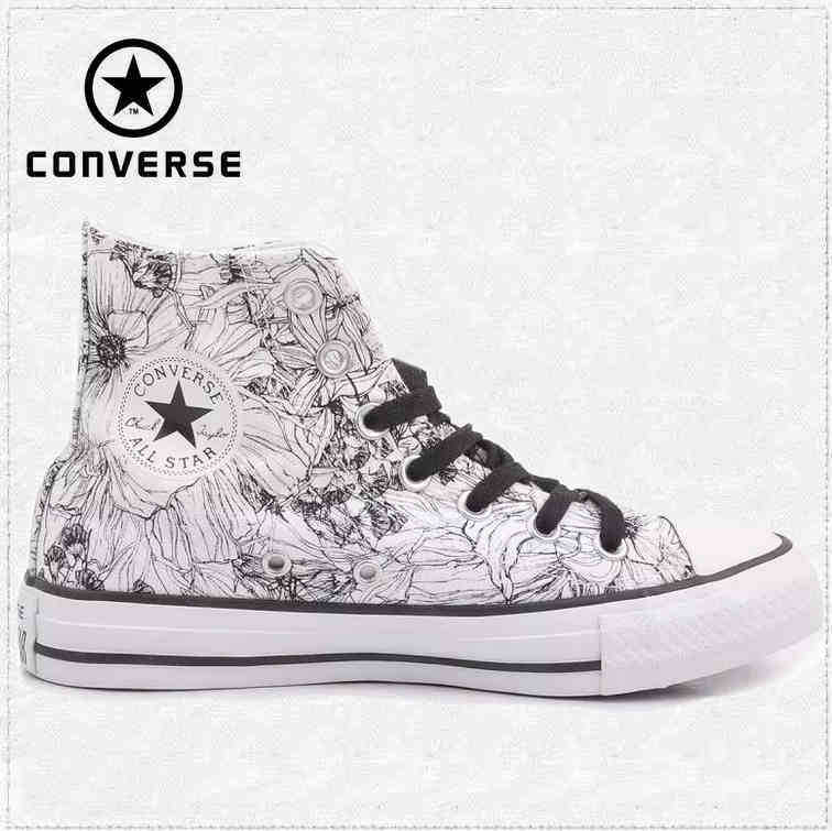 converse shoes all white. original converse all star shoes high women\u0027s sneakers canvas for manual graffiti black white women classic skateboarding shoes-in from