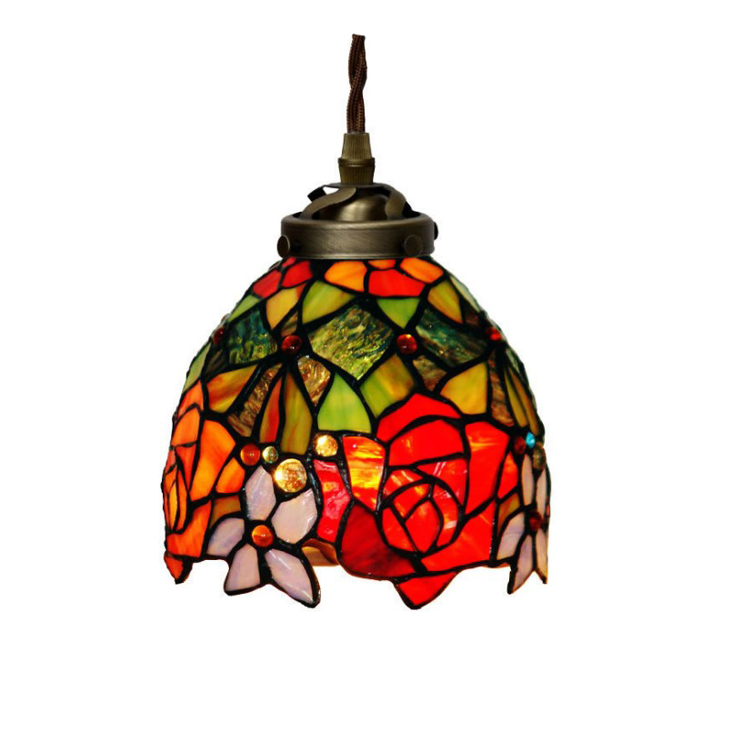 Pendant Lights Lights & Lighting Latest Collection Of Stained Glass E27 Holder Small Single Hanglamp,led Pendant Lamp Light Wedding Marriage Room Stair Rose Decorative House Lighting Fine Workmanship