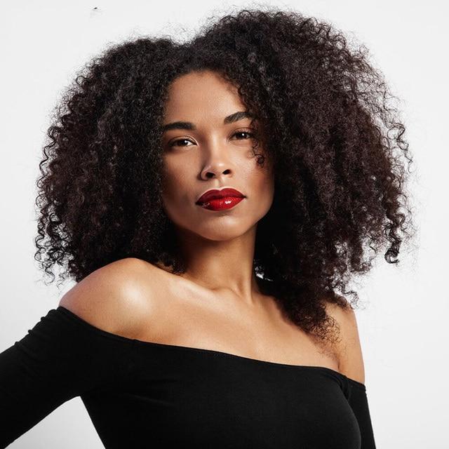 MSIWIGS Brun Synthétique Bouclés Perruques pour Femmes 9 Couleurs Ombre Courte Afro Perruque Afro-Américain Naturel 14 Pouces Noir Cheveux 3