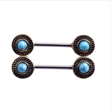 2PCS Hot Sale Retro Nipple Rings Barbell Sexy Women Natural Stone Nipple Rings Fashion Jewelry Stainless Steel Body Piercing
