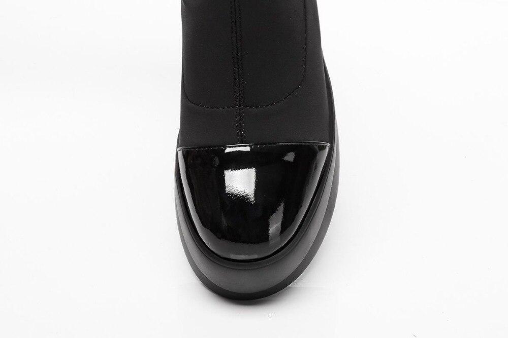 Ayakk.'ten Ayak Bileği Çizmeler'de Krazing Pot hakiki deri akın likra temel çizmeler platformu punk rock tasarımcı yuvarlak ayak kayma bayan streç yarım çizmeler L19'da  Grup 2