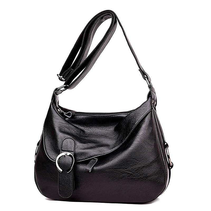 Women\'S Leather Handbags Patchwork Shoulder Crossbody Bags Ladies Messenger Bag Big Size Hobos Women Bags
