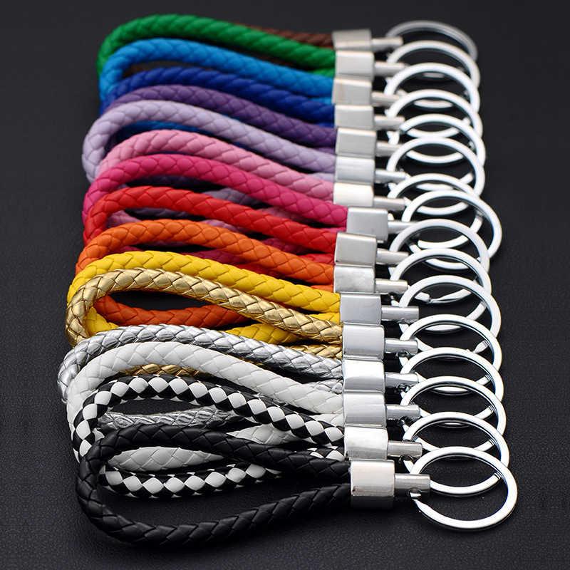 Moda Artesanal Corda De Couro Tecido Chaveiro de Metal chave anéis Chaveiro Homens ou Mulheres Titular da Chave Chave de Cobertura Auto Chaveiro presentes