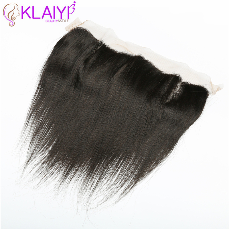 Klaiyi frontal lace closure 120 Density Free Part Human Hair Natural Hairline Remy Straight Hair 13x4