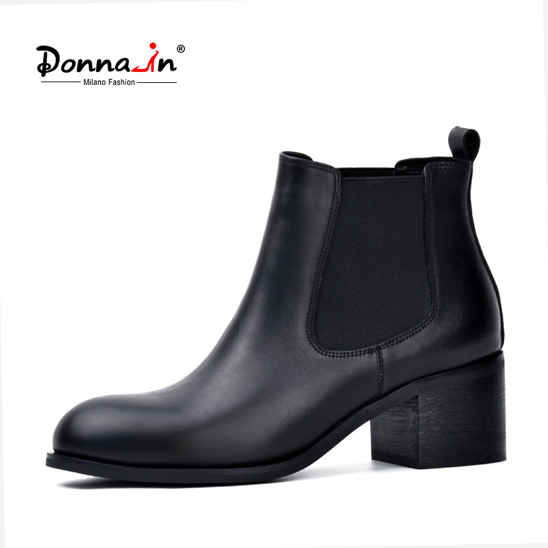 Donna-in Genuine Leather Winter Boots for Women Classic Chelsea Natural Leather Ladies Shoes Round Toe Thick Heel Ankle Boots jawakye round toe silver chains studded ankle boots women flat heel genuine leather winter shoes motocycle boots for women