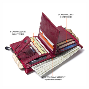 Image 4 - Contacts Genuine Leather Fashion Short Wallet Women Zipper mini Rfid Coin Purse Mini card holder Wallets for women women portfel