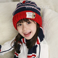 Children New Winter Cap and Scarf Stripe Kids Knitted Warm Hat Suit Children Stereo Bear Hat + Scarf  V0291