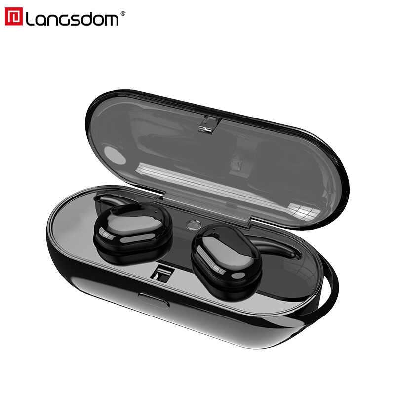Langsdom Mini True bezprzewodowe słuchawki Bluetooth słuchawki stereo HiFi muzyczny zestaw słuchawkowy słuchawki douszne z mikrofonem fone sem fio auriculares