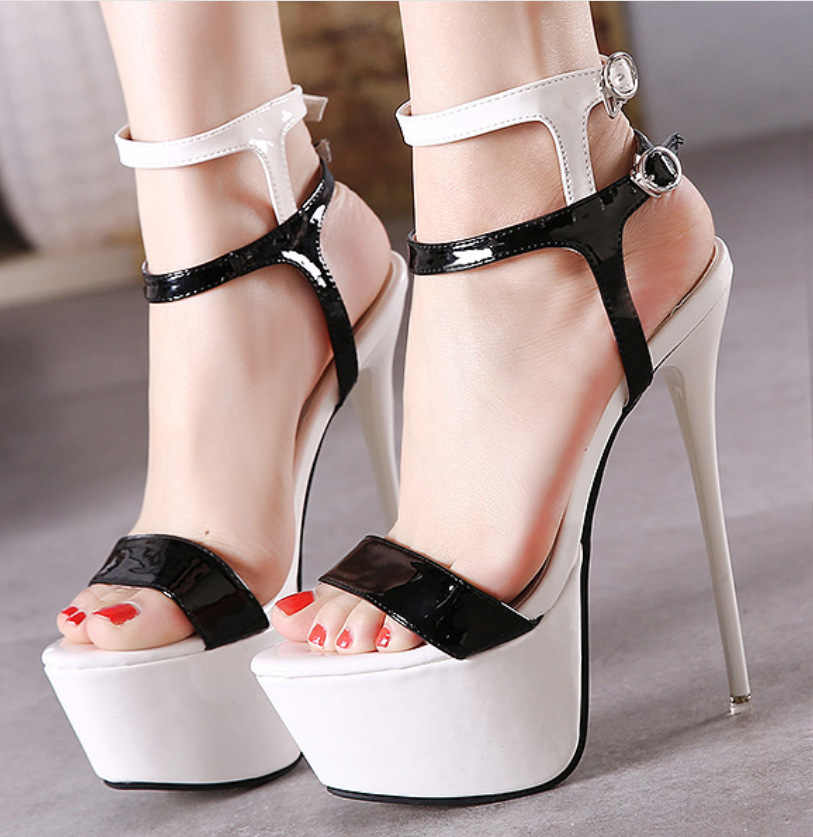 Kadınlar Yüksek Topuklu Sandalet 16 cm Seksi Striptizci Ayakkabı Parti Pompaları Ayakkabı Kadın Gladyatör platform sandaletler Boyutu 35-46 CWF-my166-2
