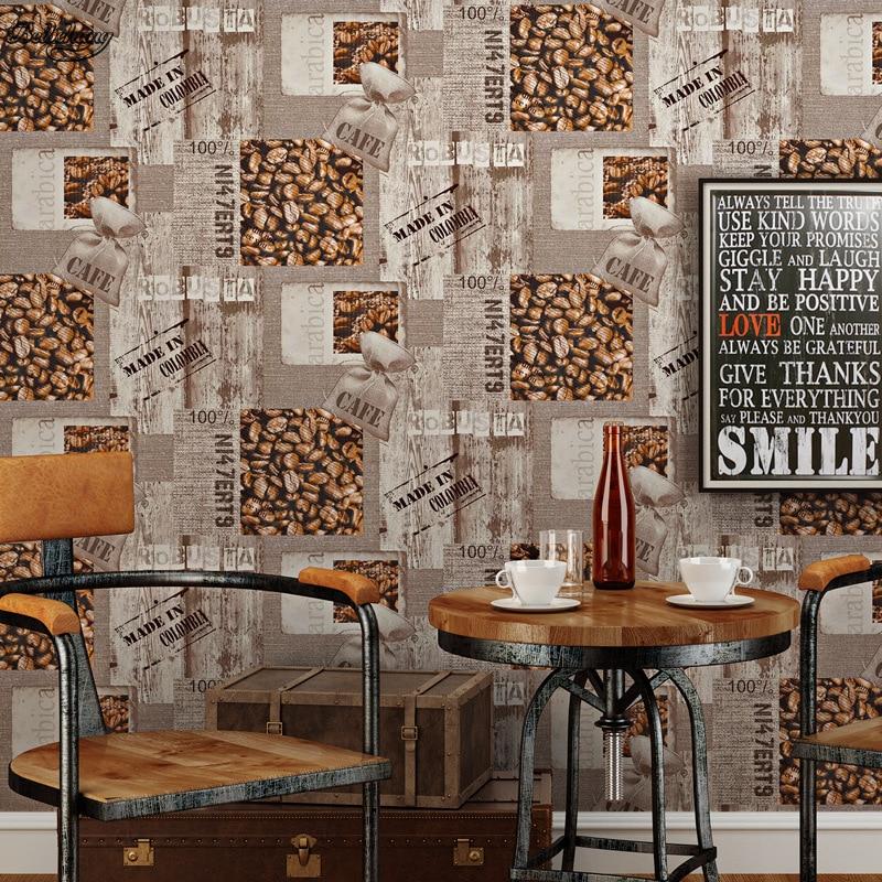 Vintage Study Room: Beibehang English Retro Nostalgic Khaki Wallpaper Warm