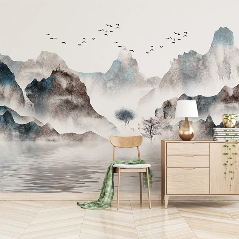 Custom Mural Wallpaper Waterproof Canvas Fabric Hand Painted Ink Mountain Water Painting Living Room Bedroom Decor Wall Murals