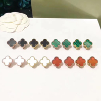 Hot Brand Fashion Jewelry For Women Wedding Earrings Mother Shell Pearl Green Red Black Four Leaf