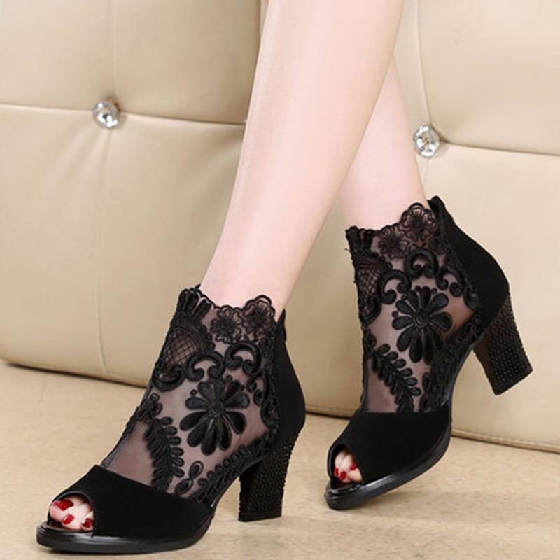 Women sandals 2019 fashion summer shoes women high heels hollow mesh sexy sandals size 35 43 Innrech Market.com