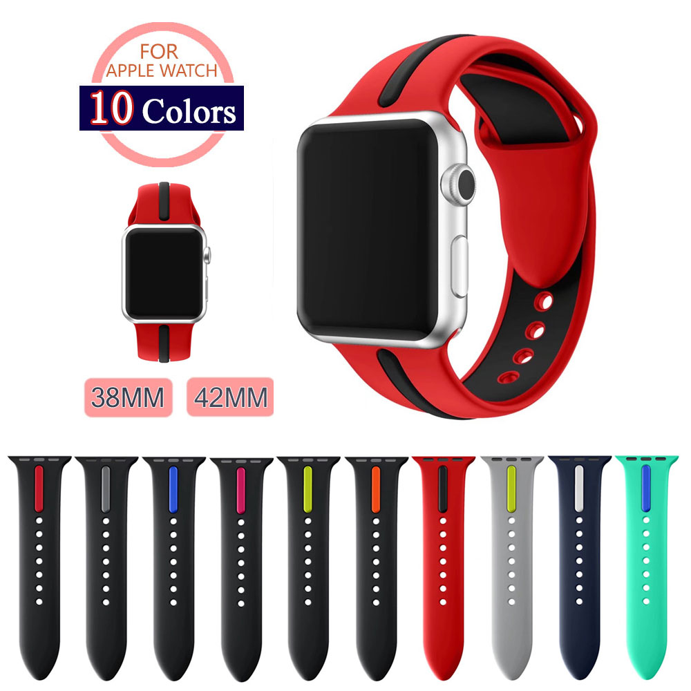 все цены на 42MM 38MM Silicone Sport Band With Connector Adapter For Apple Watch Band 42mm 38mm Strap For iWatch Sport Band Series 3/2/1 онлайн