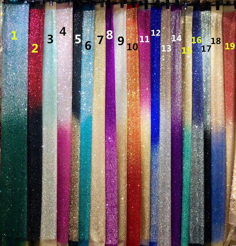 19 farben CiCi 111411 Heißer verkauf geklebt glitter spitze stoff für party kleid neueste muster 5 yards-in Spitze aus Heim und Garten bei  Gruppe 1
