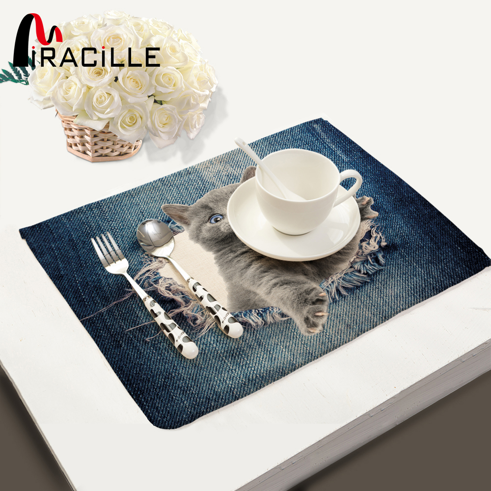 Miracille Fashion 3D Dog Cat Animals Pattern Kitchen Accessories Table Set Napkin Bowl Dining Mats Kids Table Set Home Decor ...