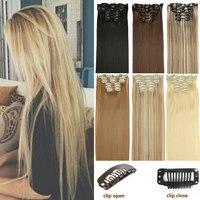 Длинные светлые волосы, синтетические волосы на заколках для наращивания, прямые 22 дюйма, 140 г, 16 клипов, накладные волосы, коричневый, черный...