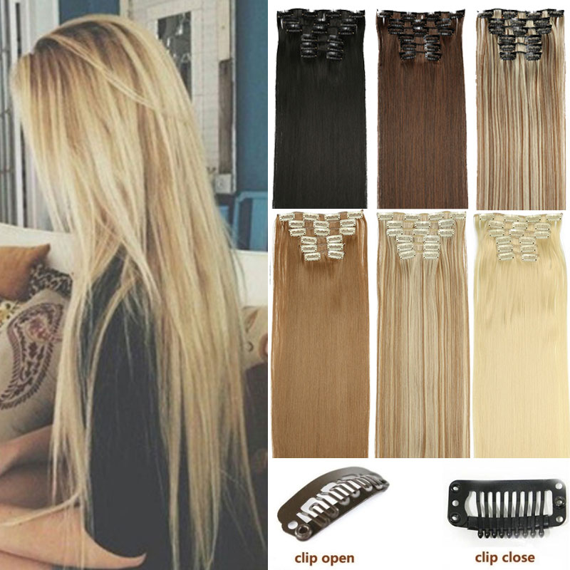 "Long Blonde hair Synthetic Clips in Hair Extensions Straight 22"" 140g 16 Clips False Hair pieces Brown Black White Color"