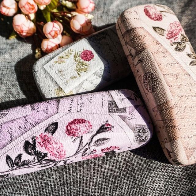 Роза очки Case женщин чистой тканью элегантные очки коробка художественная роспись очки Case Multi color Flower узор