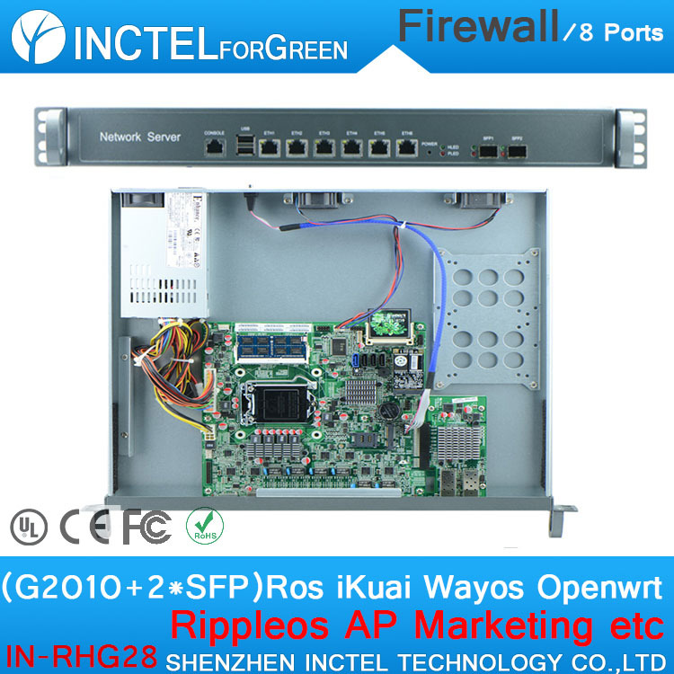 Internet router ROS 8 Gigabit flow control firewall board with G2010 CPU Intel 1000M 6 82583V 2 Gigabit 82580DB fiber H67 network routers with 6 intel pci e 1000m 82574l gigabit lan intel dual core i3 3220 3240 3 3ghz with mikrotik ros 2g ram 32g ssd