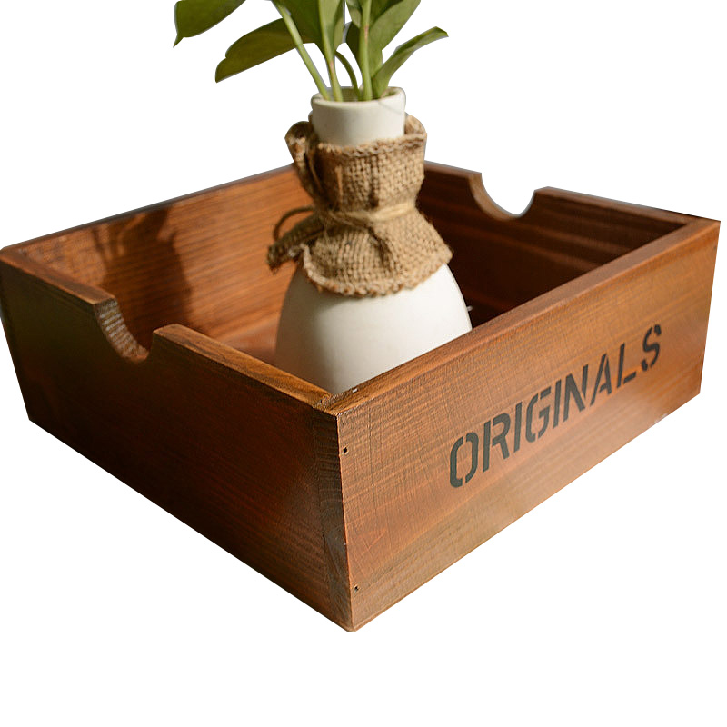 Retro Wood Household Decor Storage Box Made of Solid Wood To Decorate Your Home Small Pots Vase