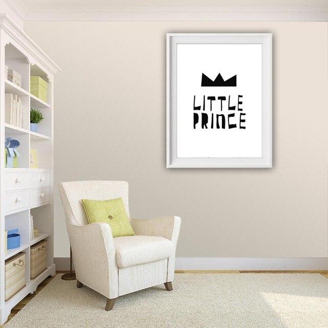 Schwarz Und Weiß Design Kleine Prinz Zitate Mit Krone Leinwand Druck Wand  Bild Kinder Zimmer Dekor