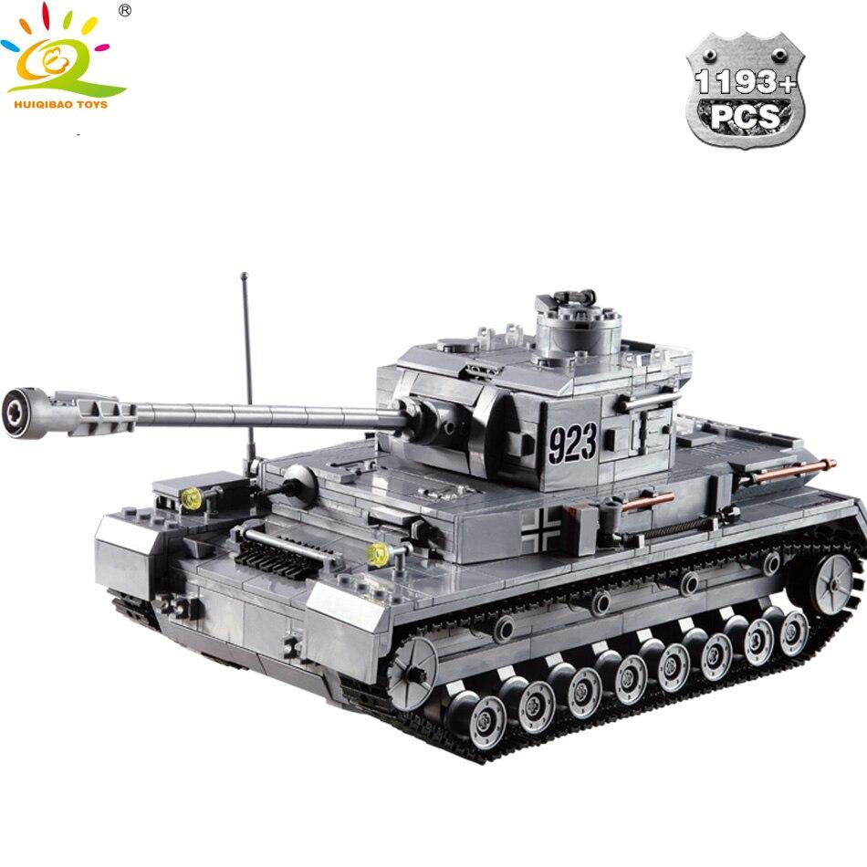HUIQIBAO TOYS 1193pcs Military Panzerkampfwagen IV Building Blocks German WW2 Tank F2 Soldier Figure Set For