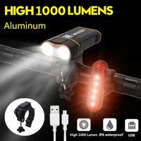 Professional 1000 Lumens MTB Bicycle Light Power Bank Waterproof USB Rechargeable Bike Light Flashlight For Road Cycling Safety