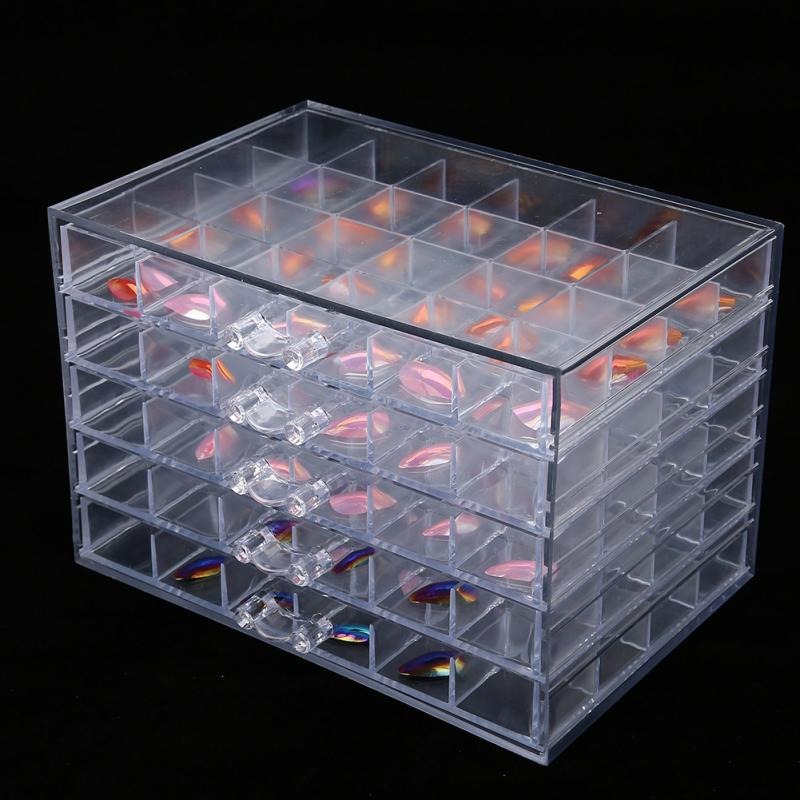Plastic Storage Box Container 120 Grids Empty Nail Decoration Organize Box Nail Glitter Rhinestone Crystal Beads Nail Accessorie hisenlee 1728pc pack multi size ss3 ss10 blue green pink white opal nail rhinestone glitter flat back crystal gems 3d nail art