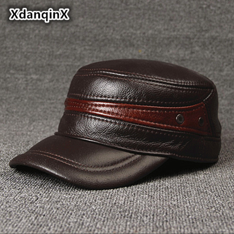 Adjustable Size Leather Baseball Cap Men's Winter Hat New Thicker Warm Cowhide Simple Fashion Male Bone Snapback Dad's Hats adjustable outdoor keep warm earmuff button baseball cap