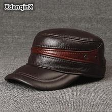 0ed5aa6d6ba Adjustable Size Leather Baseball Cap Men s Winter Hat New Thicker Warm  Cowhide Simple Fashion Male Bone