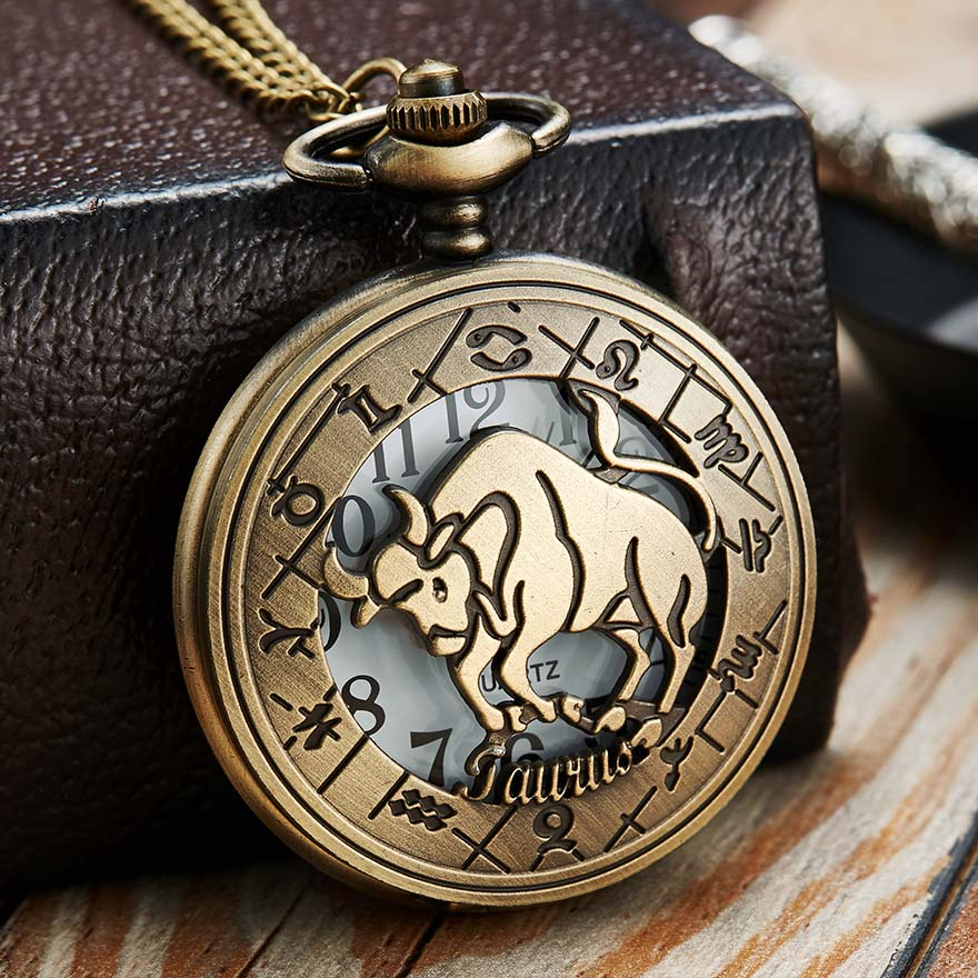 12 Constellation Pocket Watch Men Women Zodiac Fob Watches With Chain Pisces Gemini Taurus Animal Laser Engraved Necklace Clock