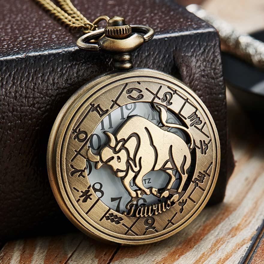 12 Constellation Pocket Watch Men Women Zodiac Fob Watches With Chain Pisces Gemini Taurus Animal Laser Engraved Necklace Clock