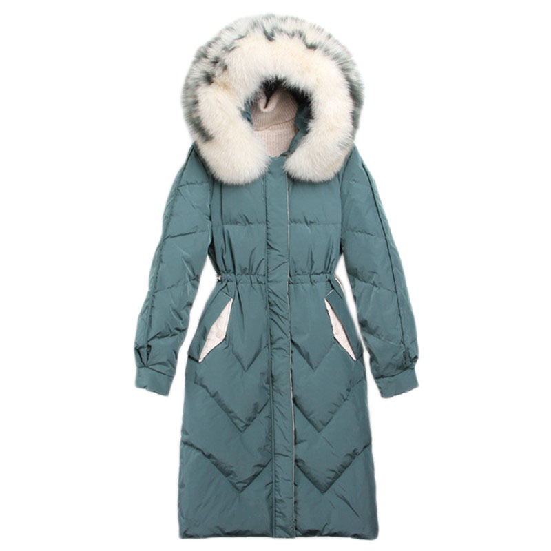 WSYORE Long Parka Mujer 2019 New Winter Long Sleeve Real Fox Fur Hooded Duck   Down   Jacket Thick Outwear Warm   Down     Coat   NS867