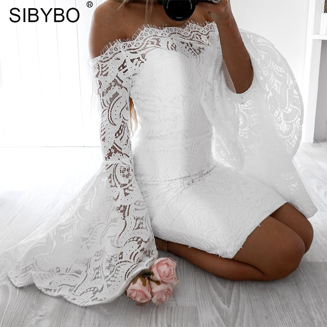 0b094b906ff Sibybo Off Shoulder Flare Sleeve Lace Dress Women Slash Neck Long Sleeve  Elegant Evening Party Dress Summer Sexy Bodycon Dress