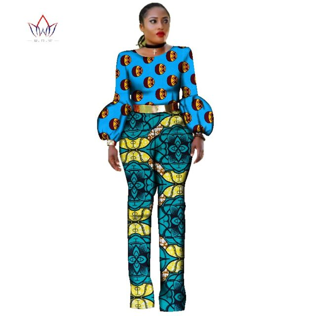 9607b261f38 African Clothes for Women Bodysuit Rompers Overalls African Bazin Rich Print  Dashiki Pants with Puff Sleeve