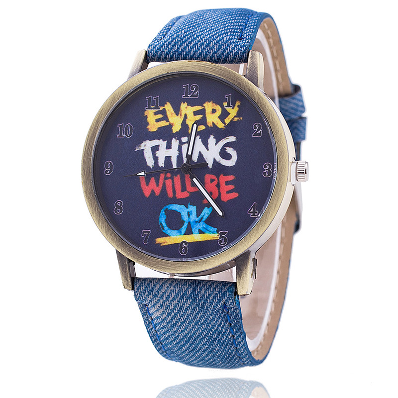 Vintage Jeans Watch For Women Leather Everything Will Be OK Watch Fashion Casual Wrist Watch Relogio Feminino Drop Shipping 729 2017 new fashion tai chi cat watch casual leather women wristwatches quartz watch relogio feminino gift drop shipping