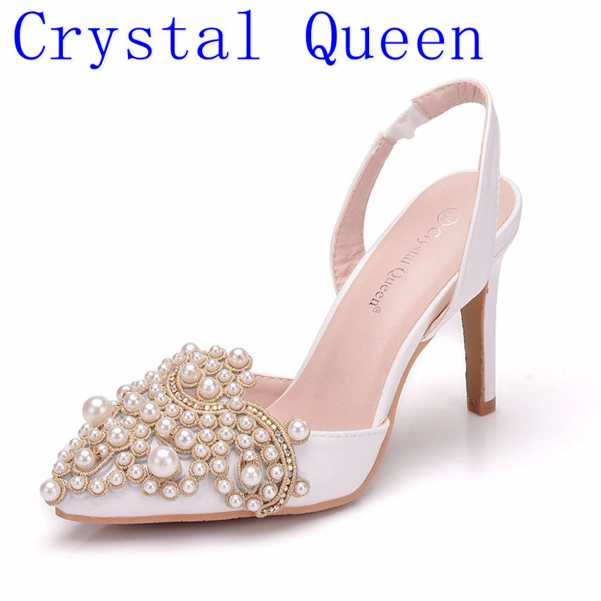Crystal Queen Women Pumps 10CM High Heels Lace Pearl Elegant Heeled Sexy Pointed Slingbacks Wedding Party Dress Courtesy ShoesCrystal Queen Women Pumps 10CM High Heels Lace Pearl Elegant Heeled Sexy Pointed Slingbacks Wedding Party Dress Courtesy Shoes