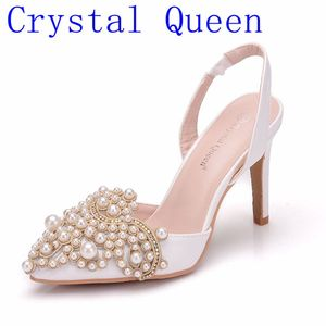 Image 1 - Crystal Queen Women Pumps 10CM High Heels Lace Pearl Elegant Heeled Sexy Pointed Slingbacks Wedding Party Dress Courtesy Shoes