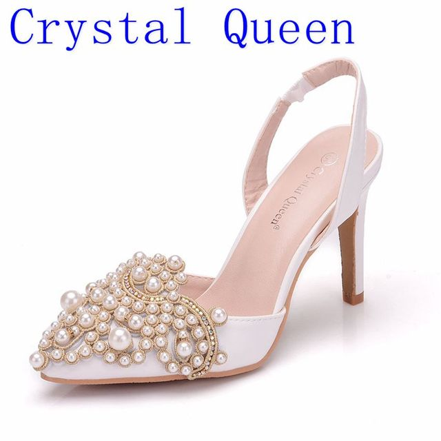 Crystal Queen Women Pumps 10CM High Heels Lace Pearl Elegant Heeled Sexy Pointed Slingbacks Wedding Party Dress Courtesy Shoes