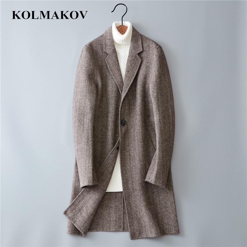 KOLMAKOV New Arrival Men's Woolen Coats 2019 Double-faced Wool Windbreakers Masculino Anti-wrinkle Winter Mens Overcoats 3XL