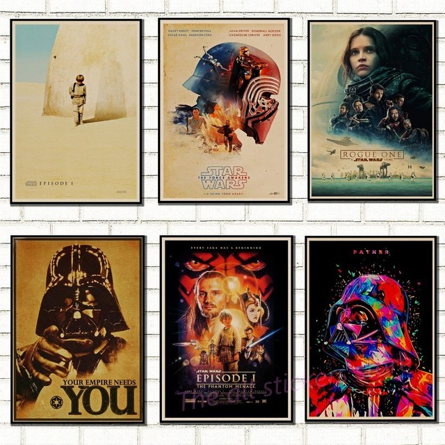 Star Wars poster. New hope.  The return of the jedi.. the Force Awakening .Rogue one.The Phantom Menace Art kraft posters /5011