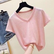gkfnmt Korea White Tshirt Women Tops Pink Blue Summer V-Neck Female T-shirt
