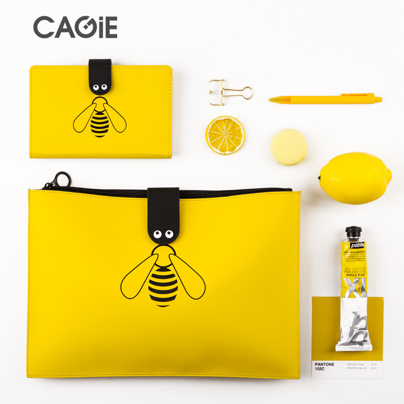 Cute Little Bee A4 File Holder PU File Bag Handbags New Zipper Storage Bag Kawaii Pencil Case & Notebook School Office Supplies